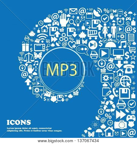 Mp3 Music Format Sign Icon. Musical Symbol . Nice Set Of Beautiful Icons Twisted Spiral Into The Cen