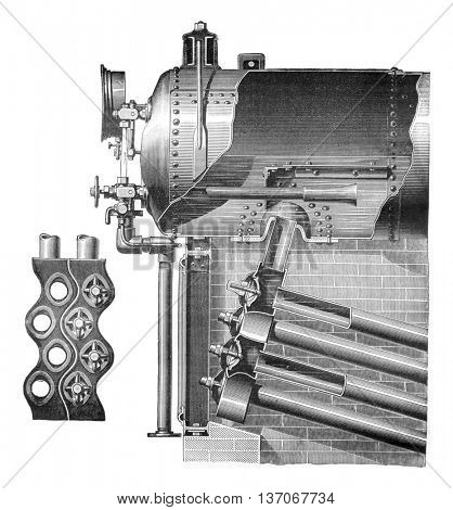 Babcock and Wilcox boiler, vintage engraved illustration. Industrial encyclopedia E.-O. Lami - 1875.