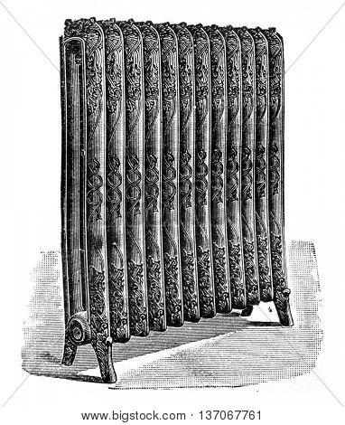 View a heater, vintage engraved illustration. Industrial encyclopedia E.-O. Lami - 1875.