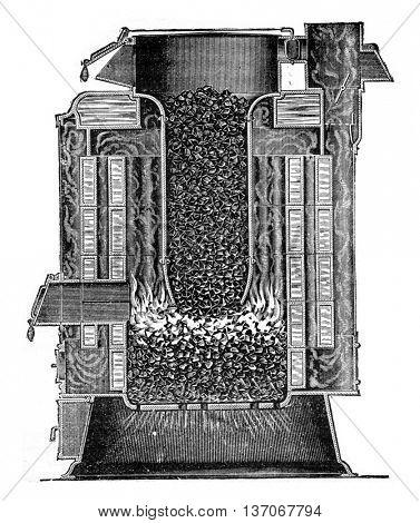 Steam Boiler type Hamelle, vintage engraved illustration. Industrial encyclopedia E.-O. Lami - 1875.