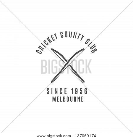 Cricket club emblem and design elements. Cricket logo design. Cricket badge. Sports symbols with cricket gear, equipment. Use for web design, tee design or print on t-shirt. Monochrome.