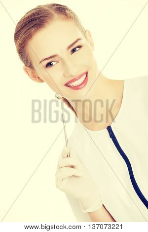 Dentist with small mirror to checking up teeth.