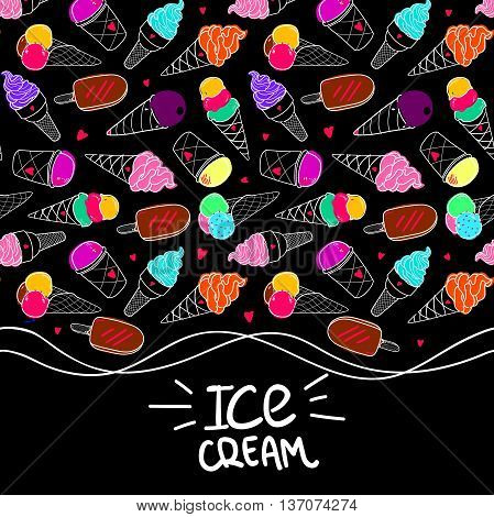 Seamless horizontal vector border, colorful ice cream pattern, hand-drawn summer background with place for text, Ice Cream hand lettering, EPS 8