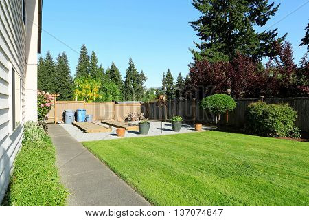 Fenced Back Yard With Green Lawn, Beds