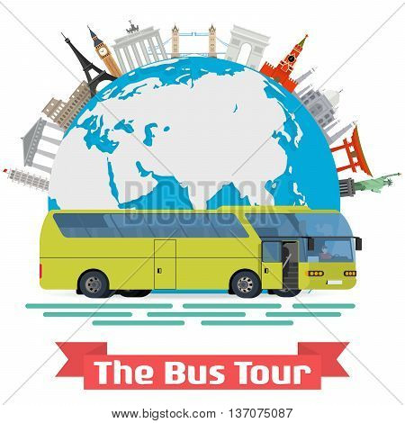 Vector conceptual illustration - The Bus Tour of Europe and popular familiar landmarks. Globe with monuments and green touristic bus.