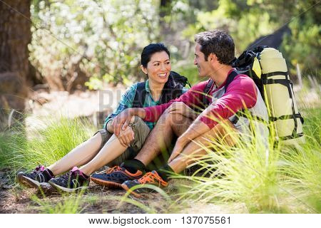 Couple sitting and looking each other on the wood