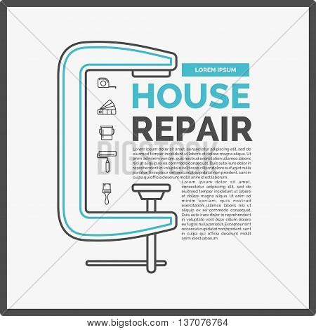 Vector illustration of house repair with a set of tools and a clamp in flat linear style on white background. ideal for shop advertising website design poster leaflets