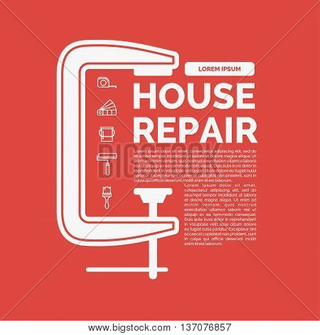 Vector illustration of house repair with a set of tools and a clamp in flat linear style on red background. ideal for shop advertising website design poster leaflets