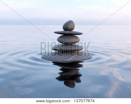 3d rendering of Zen stones in water with reflection - peace balance meditation relaxation concept