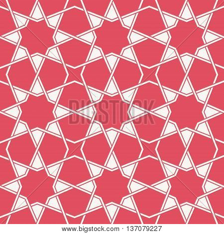 Entwined modern pattern based on traditional oriental arabic patterns. Seamless vector background. Easy to recolor. Arabesque geometric pattern. Traditional Islam pattern.