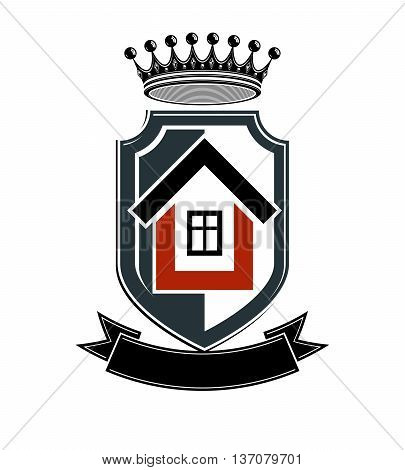 Imperial coat of arms vector royal house conceptual symbol. Protection shield with 3d king crown.