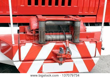 Hoist With Steel Rope Installed On A Big Fire Truck