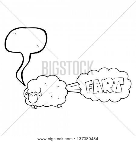 freehand drawn speech bubble cartoon farting sheep