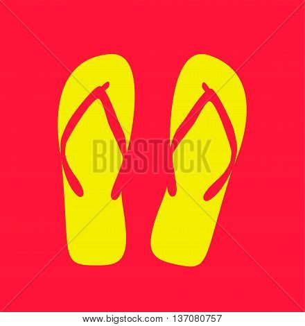 Pair of flip-flops. Vector illustration pink color