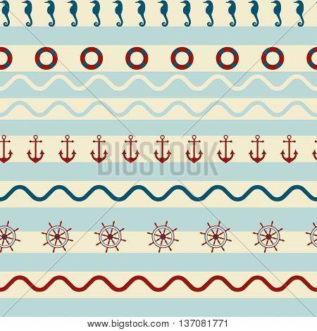Seamless striped pattern with sea anchor, starfish, lifeline