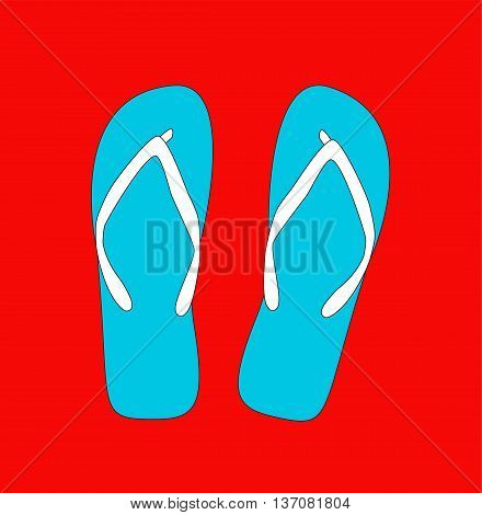 Pair of flip-flops. Vector illustration. retro style