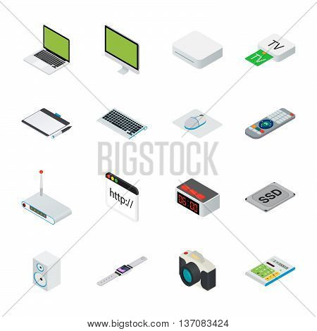 Flat 3d isometric computerized technology designer workspace infographic concept vector. Tablet, laptop, smart phone, camera, player, desktop computer, peripheral devices icon set.