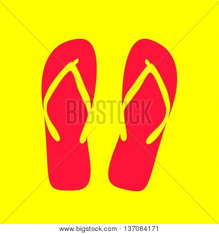 Pair of flip-flops. Vector illustration. pink color
