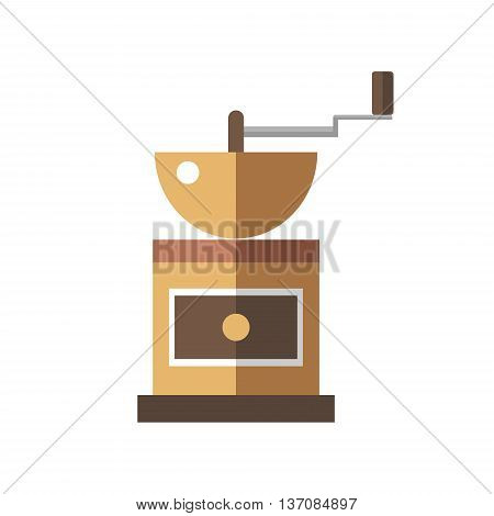 Coffee mill icon on white background - stock vector illustration.