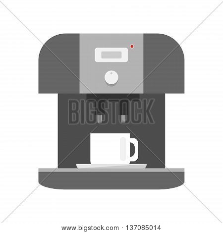 Coffee machine icon on white background - stock vector illustration.