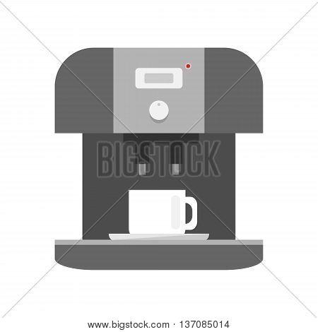 Coffee machine icon on white background - stock vector illustration.