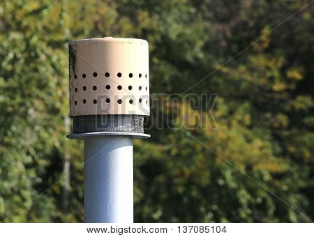 Vent Pipe Above The Cylinder For The Storage Of Natural Gas