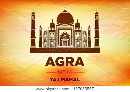 Sunrise Agra Taj Mahal India Vector Orange Background