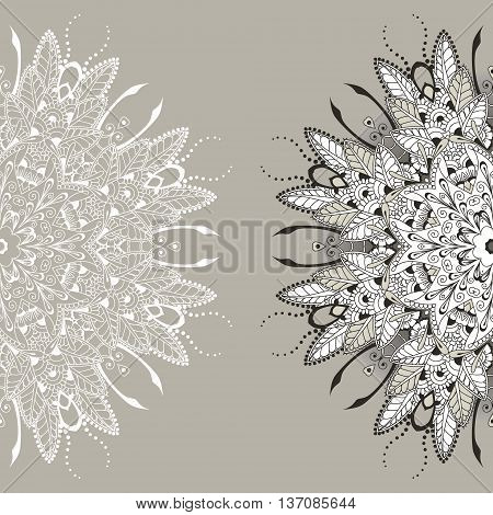 Card with circular floral ornament. Round Pattern Mandala. Floral round pattern for the greeting card or invitation template frame design for business style or else. Vector illustration
