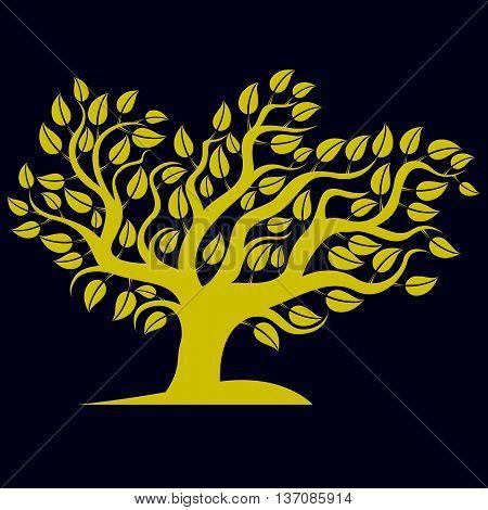 Art Illustration Of Spring Branchy Tree, Stylized Eco Symbol. Graphic Design Vector Image On Season