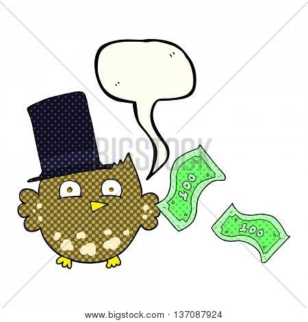 freehand drawn comic book speech bubble cartoon wealthy little owl with top hat