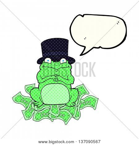 freehand drawn comic book speech bubble cartoon rich frog in top hat