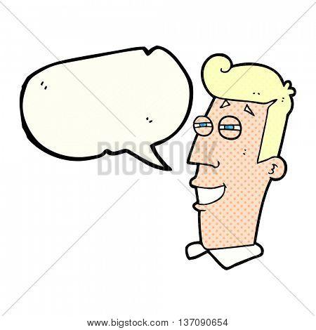 freehand drawn comic book speech bubble cartoon grinning man