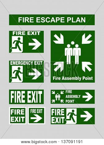 Set of green emergency exit banners fire exit, emergency exit, fire assembly point, evacuation exit for fire escape plans. Vector illustration isolated on grey poster