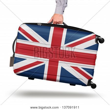 Hand holding modern suitcase Union Jack design isolated on white Brexit concept
