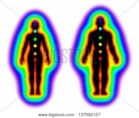 Human energy body with aura and chakras on white background