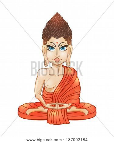 Drawing of a Buddha statue. Art vector illustration of Gautama Buddha  Buddhism Religion. Bless Band. Design for greeting card, print clothing. The concept of Yoga Studio.