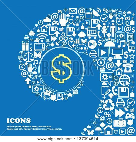 Dollar Sign Symbol. Nice Set Of Beautiful Icons Twisted Spiral Into The Center Of One Large Icon. Ve