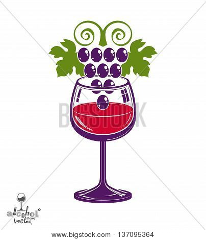Winery theme vector illustration. Stylized wineglass with grapes cluster racemation symbol best for use in advertising and graphic design. poster