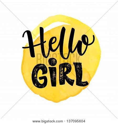 Hello girl typography design on yellow watercolor spot