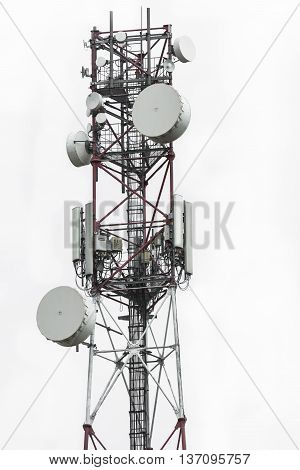 Telecommunication Tower With Dish And Mobile Antenna Isolated On White Background