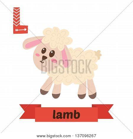Lamb. L Letter. Cute Children Animal Alphabet In Vector. Funny Cartoon Animals