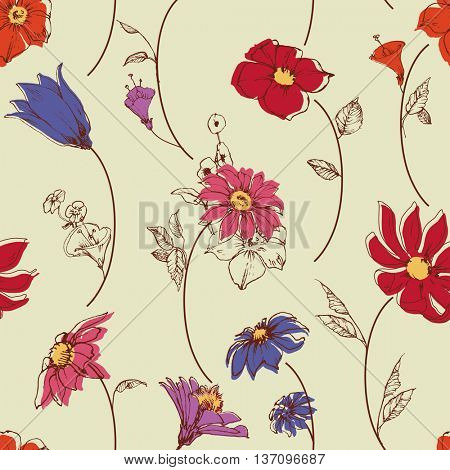 Scattered flowers seamless pattern
