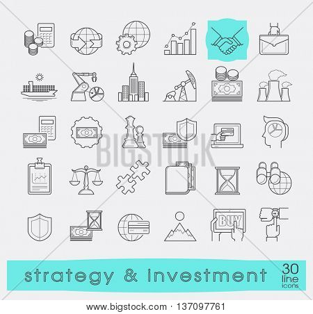 Set of premium quality line strategy and investment icons. Collection of web business icons. Vector illustration.