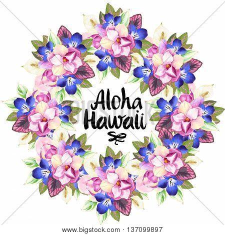 Hawaiian Wreath With Realistic Watercolor Flowers. Aloha Hawaii.