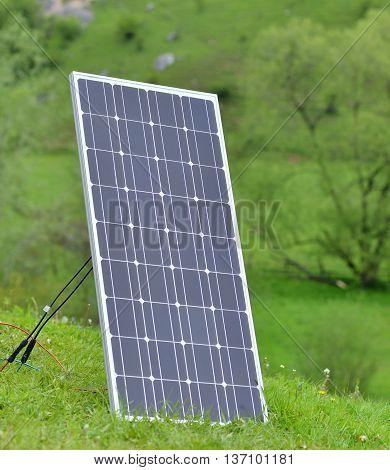 solar panel on meadow. new tehnology .