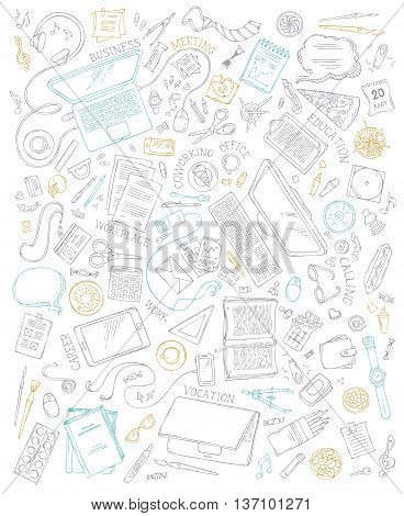 70+ items. Top view. Doodles design elements for work and education. Stationery and gadgets food and drinks plants laptop mobile. poster