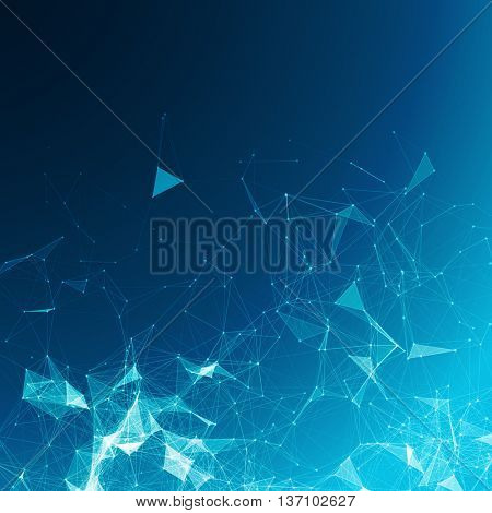 Abstract Polygonal Space Blue Background with Connecting Dots and Lines | Futuristic Vector Illustration
