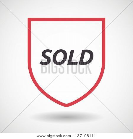 Isolated Line Art Shield Icon With    The Text Sold
