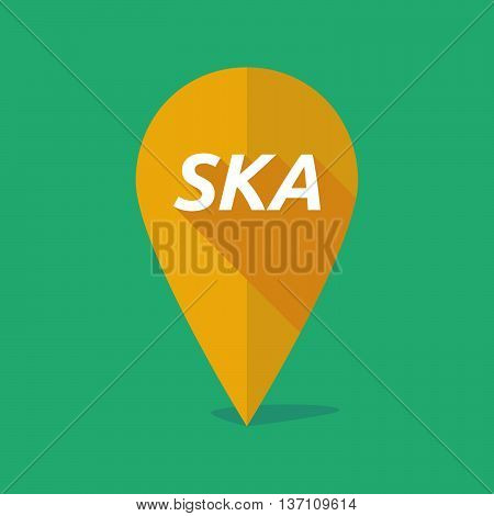 Long Shadow Map Mark Icon With    The Text Ska