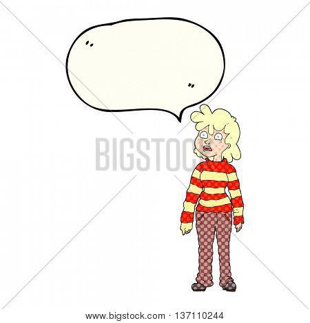 freehand drawn comic book speech bubble cartoon teenager